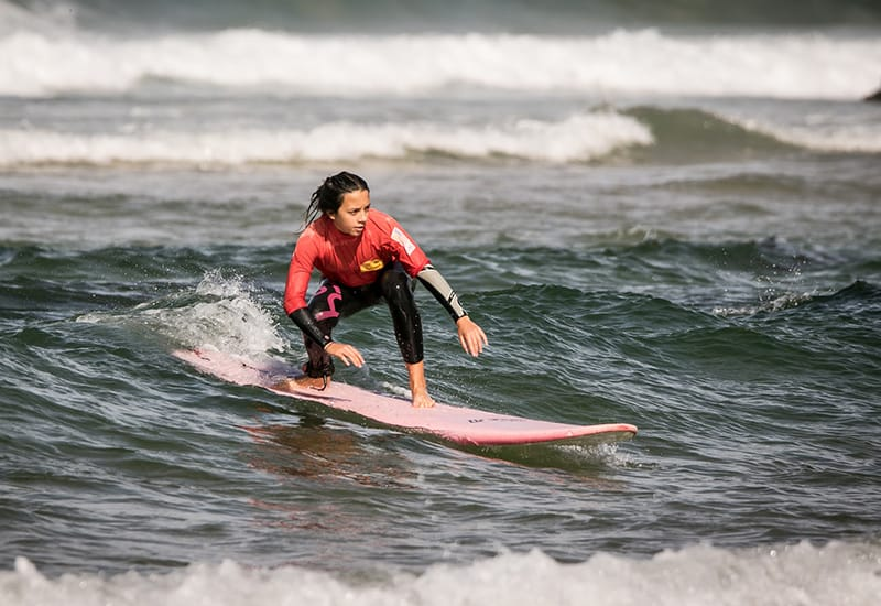 students surfing portugal